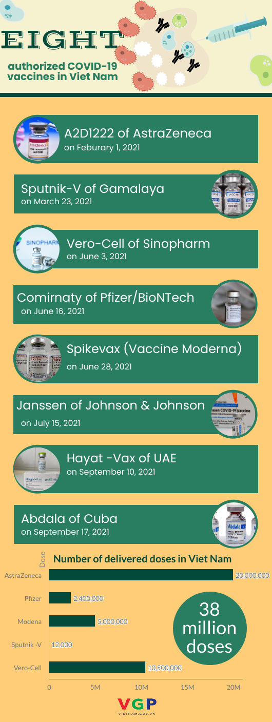 Infographic: VN approves eighth COVID-19 vaccine for emergency use